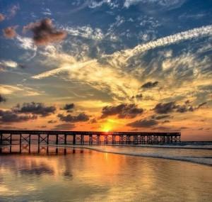 橋の上の朝焼けjpg